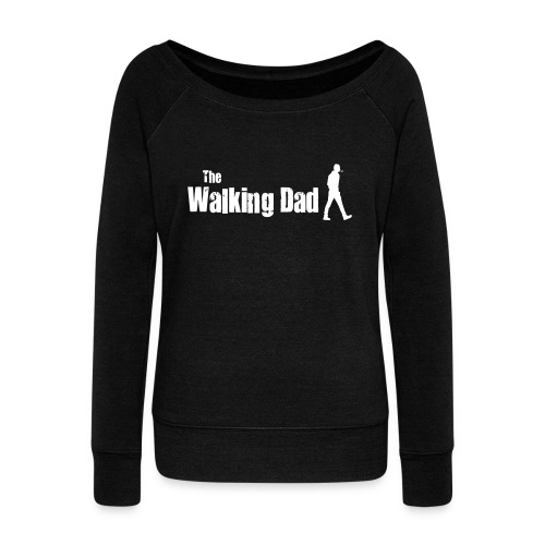 the walking dad white text on black - Women's Boat Neck Long Sleeve Top