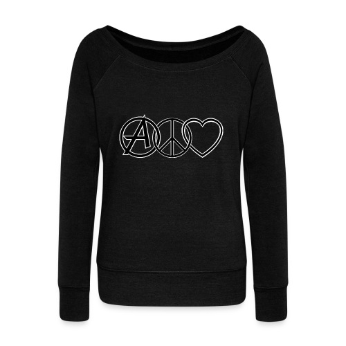ANARCHY PEACE & LOVE - Women's Boat Neck Long Sleeve Top