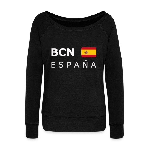 BCN ESPAÑA white-lettered 400 dpi - Women's Boat Neck Long Sleeve Top
