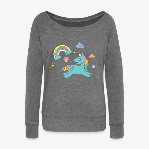colored unicorn - Women's Boat Neck Long Sleeve Top