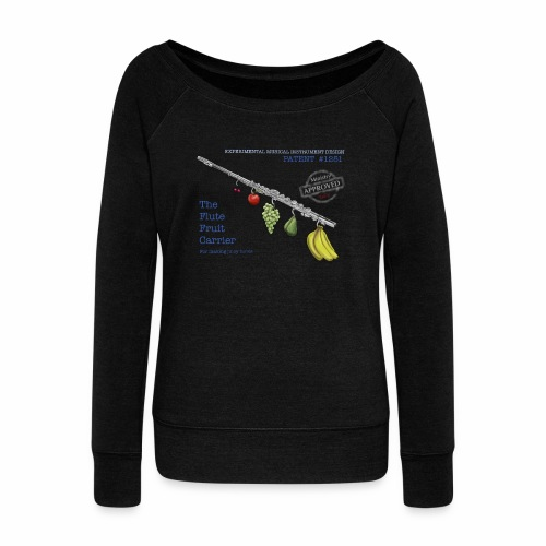 Experimental Musical Instruments - Flute Fruit - Women's Boat Neck Long Sleeve Top