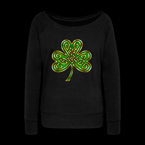Celtic Knotwork Shamrock - Women's Boat Neck Long Sleeve Top