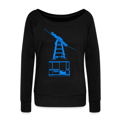 murpworks cableCar blue tshirt png - Women's Boat Neck Long Sleeve Top
