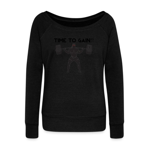 TIME TO GAIN! by @onlybodygains - Women's Boat Neck Long Sleeve Top