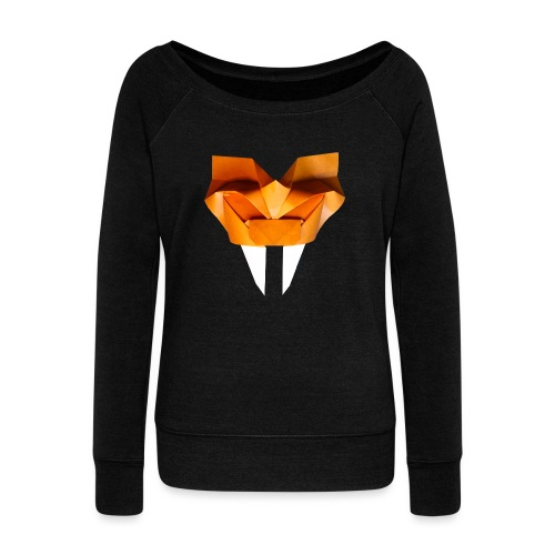 Origami Saber Toothed Tiger Mask - Origami Tiger - Women's Boat Neck Long Sleeve Top