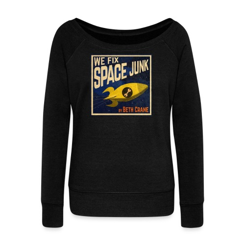 We Fix Space Junk logo (square) - Women's Boat Neck Long Sleeve Top