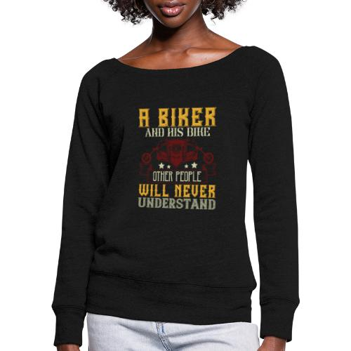 A biker and his bike. - Women's Boat Neck Long Sleeve Top