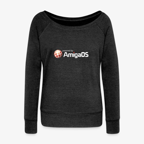 PoweredByAmigaOS white - Women's Boat Neck Long Sleeve Top