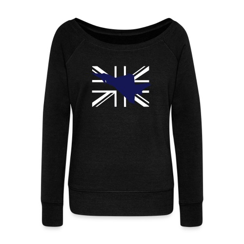 ukflagsmlWhite - Women's Boat Neck Long Sleeve Top