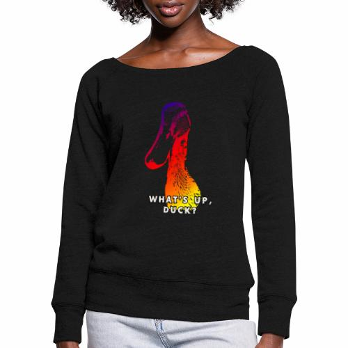 what's up duck - Color - Women's Boat Neck Long Sleeve Top