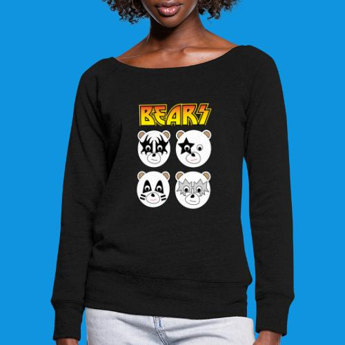 Kiss Bears square.png - Women's Boat Neck Long Sleeve Top