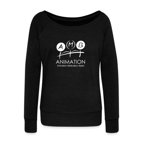 AMB Logo Animation Motivation Belief - Women's Boat Neck Long Sleeve Top