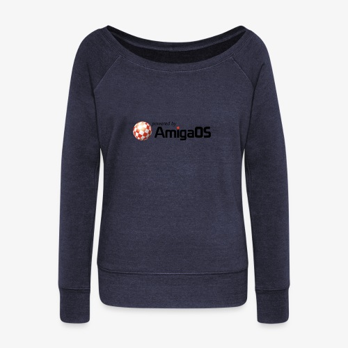 PoweredByAmigaOS Black - Women's Boat Neck Long Sleeve Top