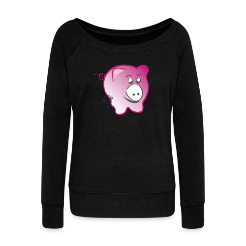 Pig - Symbols of Happiness - Women's Boat Neck Long Sleeve Top