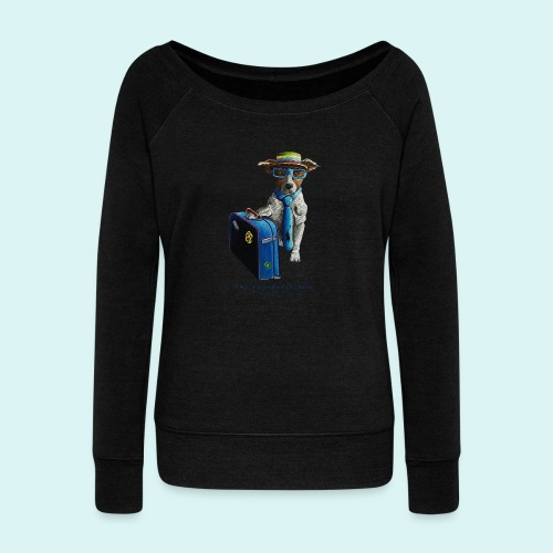 The Traveling Dog - Women's Boat Neck Long Sleeve Top
