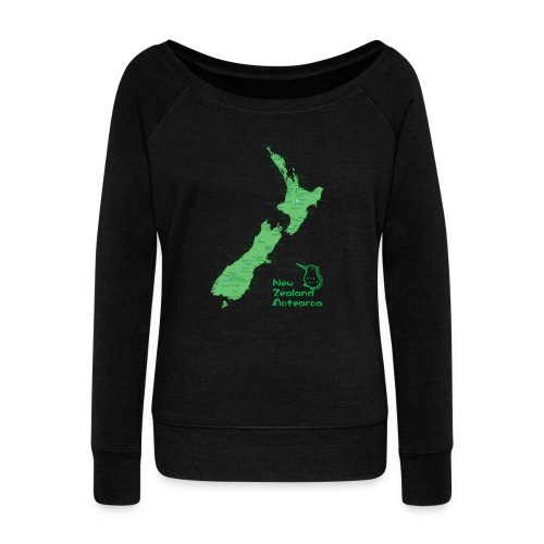 New Zealand's Map - Women's Boat Neck Long Sleeve Top