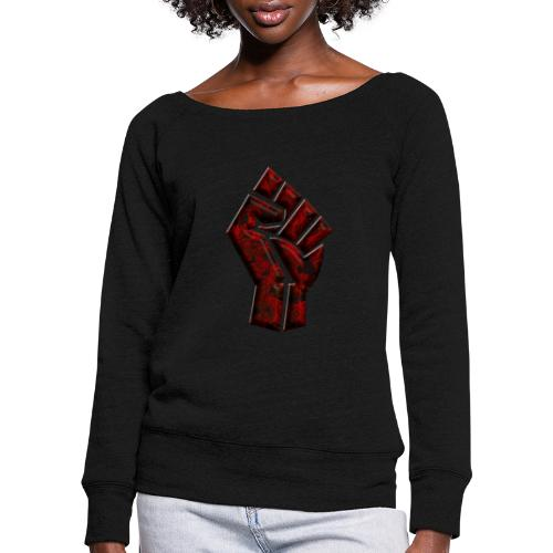Power to the people - butterfly Red - Women's Boat Neck Long Sleeve Top
