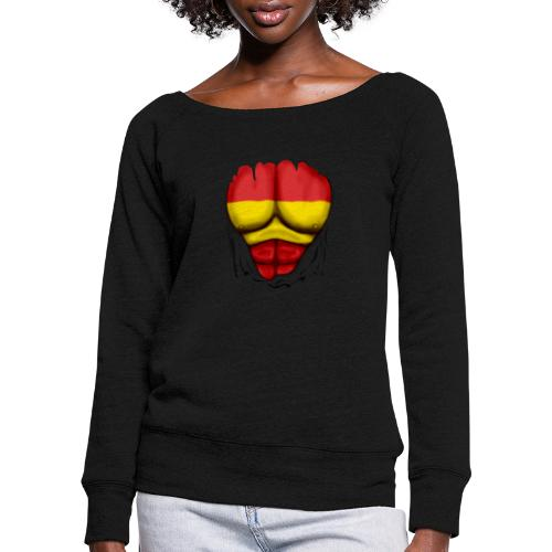 España Flag Ripped Muscles six pack chest t-shirt - Women's Boat Neck Long Sleeve Top