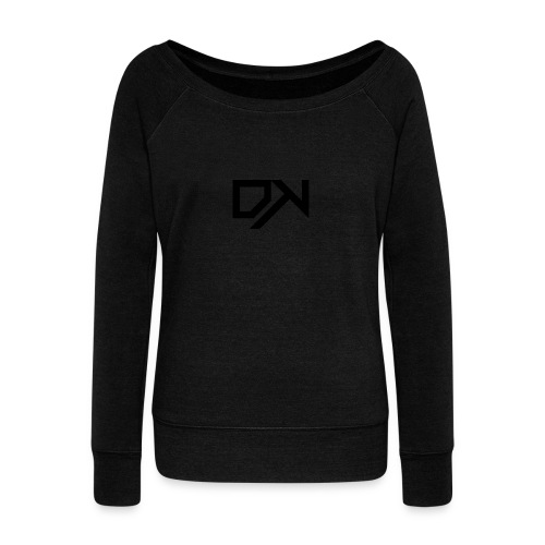 DewKee Logo T-Shirt Black - Women's Boat Neck Long Sleeve Top