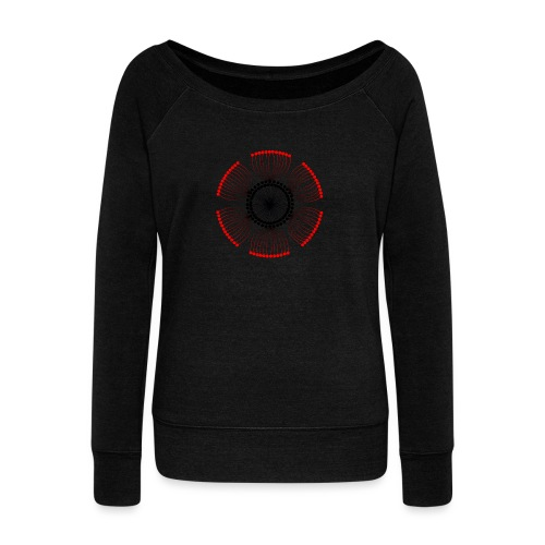Red Poppy Seeds Mandala - Women's Boat Neck Long Sleeve Top