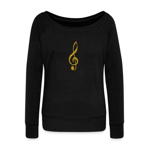 Goldenes Musik Schlüssel Symbol Chopped Up - Women's Boat Neck Long Sleeve Top