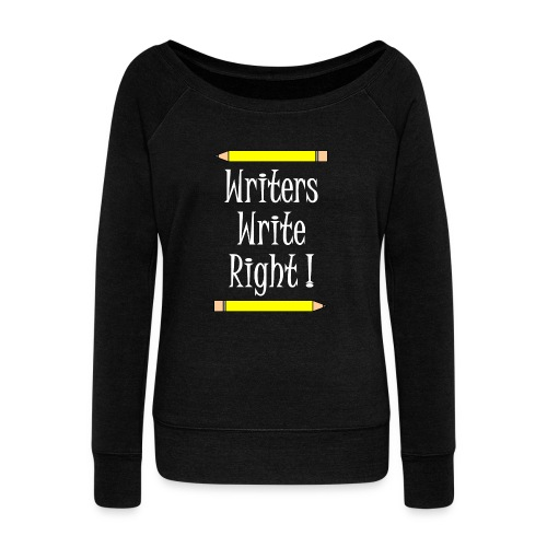 Writers Write Right White Text - Women's Boat Neck Long Sleeve Top