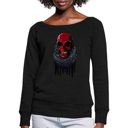 RED Skull in Chains - Women's Boat Neck Long Sleeve Top