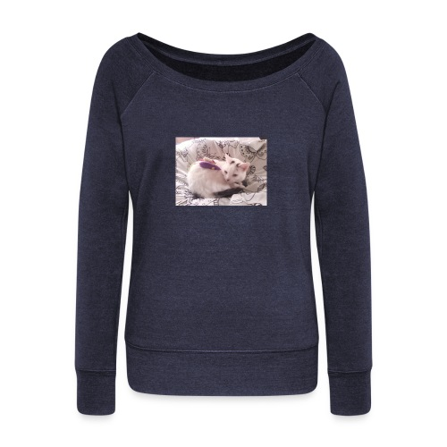 CAT SURROUNDED BY MICE AND BUTTERFLIES. - Women's Boat Neck Long Sleeve Top