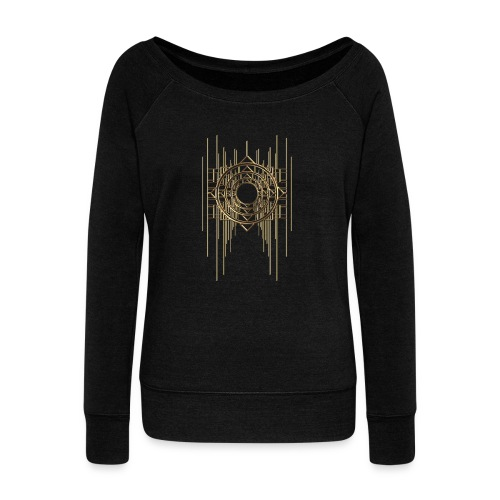 Abstract Geometry Gold Metal Art Deco Vintage - Women's Boat Neck Long Sleeve Top