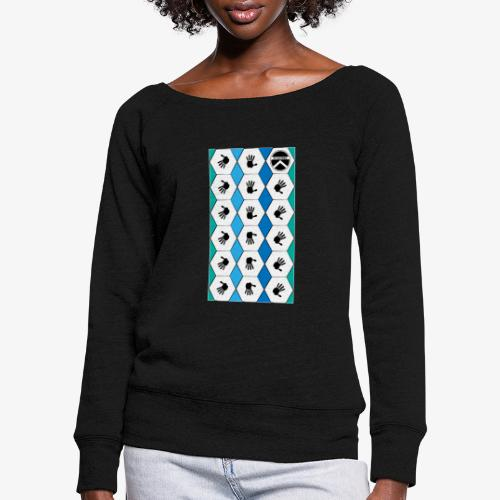 |K·CLOTHES| HEXAGON ESSENCE BLUES & WHITE - Sudadera con escote drapeado mujer
