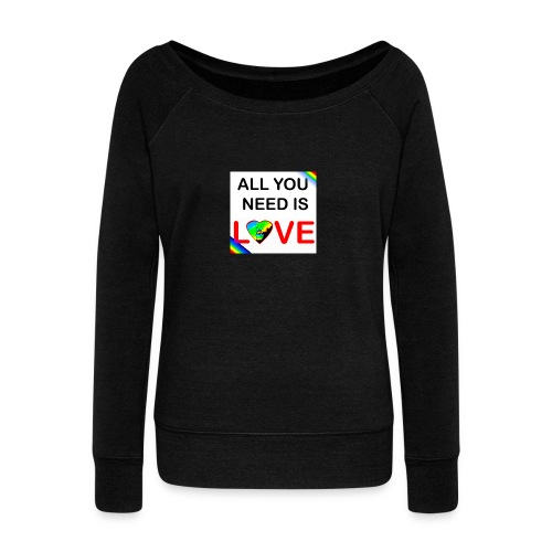 all you need is peace and love - Pull Femme col bateau de Bella