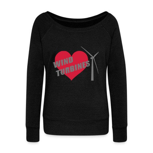 wind turbine grey - Women's Boat Neck Long Sleeve Top