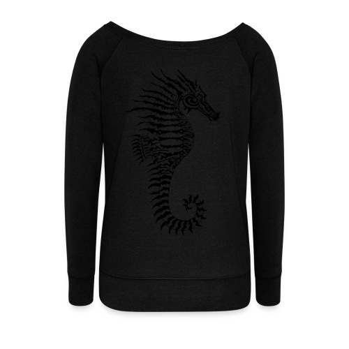 Alien Seahorse Invasion - Women's Boat Neck Long Sleeve Top