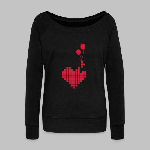 heart and balloons - Women's Boat Neck Long Sleeve Top