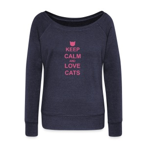 Keep Calm and Love Cats - Pink - Women's Boat Neck Long Sleeve Top
