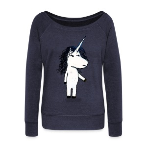 Angry unicorn - Women's Boat Neck Long Sleeve Top