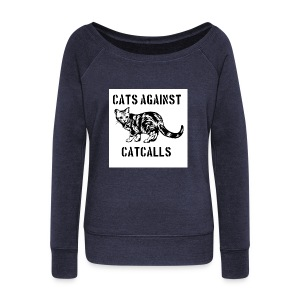 Cats against catcalls - Women's Boat Neck Long Sleeve Top