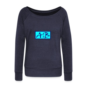 AtoB Logo light blue - Women's Boat Neck Long Sleeve Top