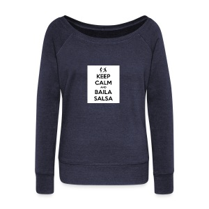 keep-calm-and-baila-salsa-41 - Felpa con scollo a barca da donna, marca Bella