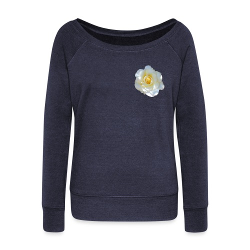 A white rose - Women's Boat Neck Long Sleeve Top