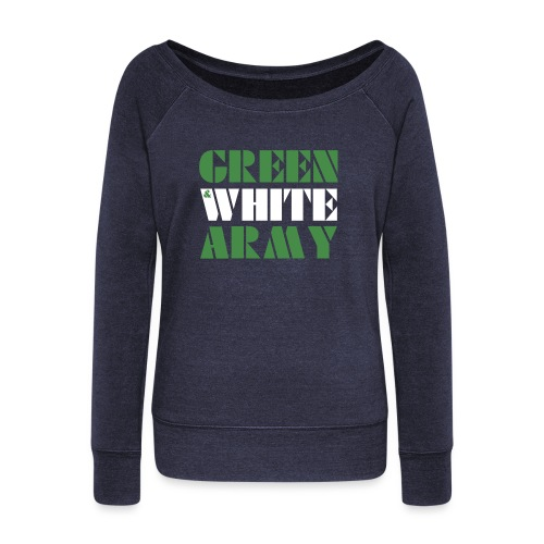 GREEN & WHITE ARMY - Women's Boat Neck Long Sleeve Top