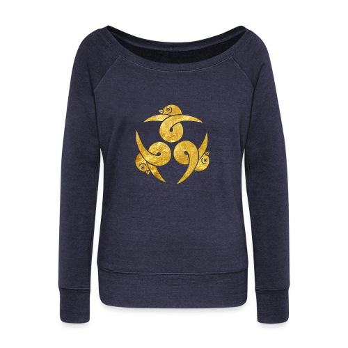 Three Geese Japanese Kamon in gold - Women's Boat Neck Long Sleeve Top