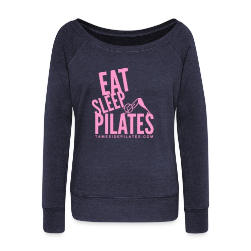 eat sleep pilates 2019 pink - Women's Boat Neck Long Sleeve Top