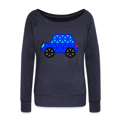 The Car Of Life - M01, Sacred Shapes, Blue/R01. - Women's Boat Neck Long Sleeve Top