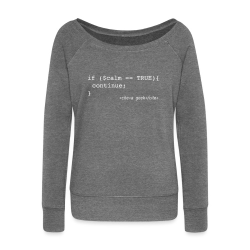 Coder's Keep Calm (with white text) - Women's Boat Neck Long Sleeve Top