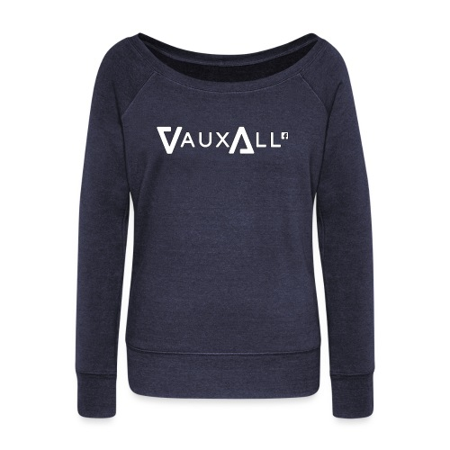 VauxAll Logo | White | Original - Women's Boat Neck Long Sleeve Top