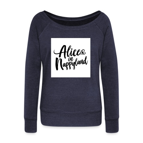 Alice in Nappyland Typography Black 1080 1 - Women's Boat Neck Long Sleeve Top