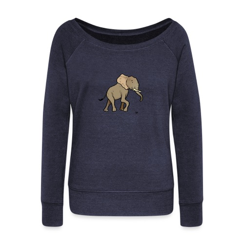 African Elephant - Women's Boat Neck Long Sleeve Top