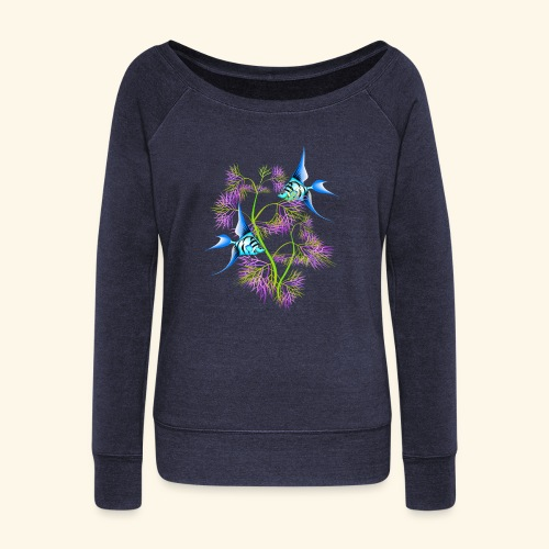 Tropical blue Fish Swimming around plants - Women's Boat Neck Long Sleeve Top