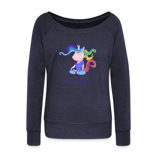 Yoga unicorn in the Lotus - Women's Boat Neck Long Sleeve Top